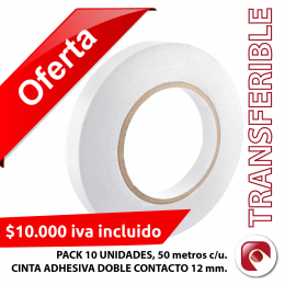 PACK 10 UNIDADES DE CINTAS DOBLE CONTACTO 12 mm. x 50 mts.